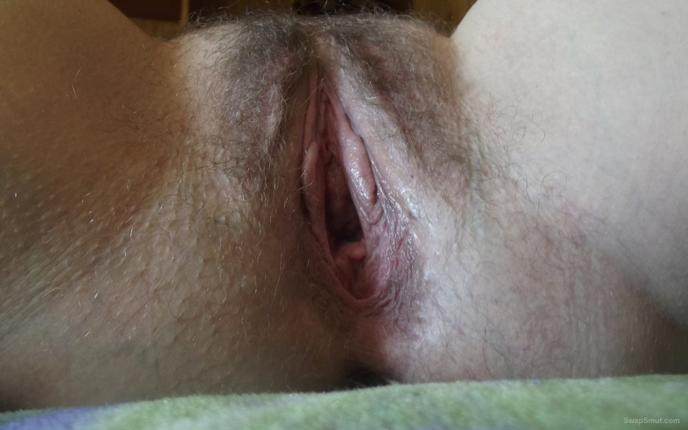 Wife hairy pussy for stroking and touching wanting to be filled