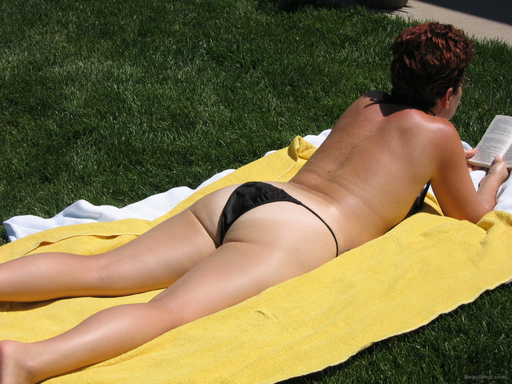 backyard sunbathing Topless