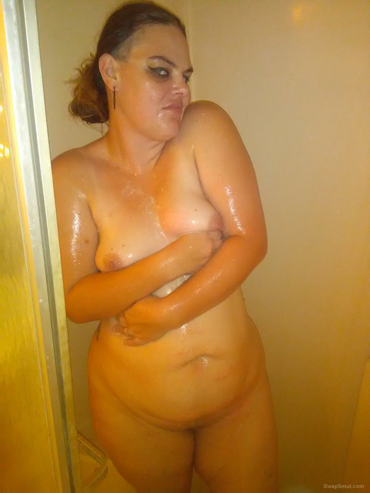 My wife in the shower washing her dirty chubby pussy