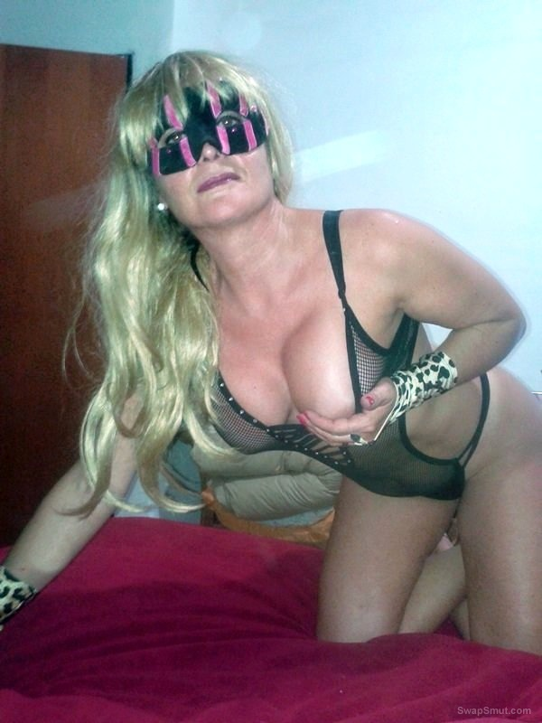 Mature blonde mom wearing see through lingerie