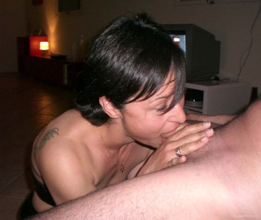 A hot swinger wife having sum fun at a homemade party