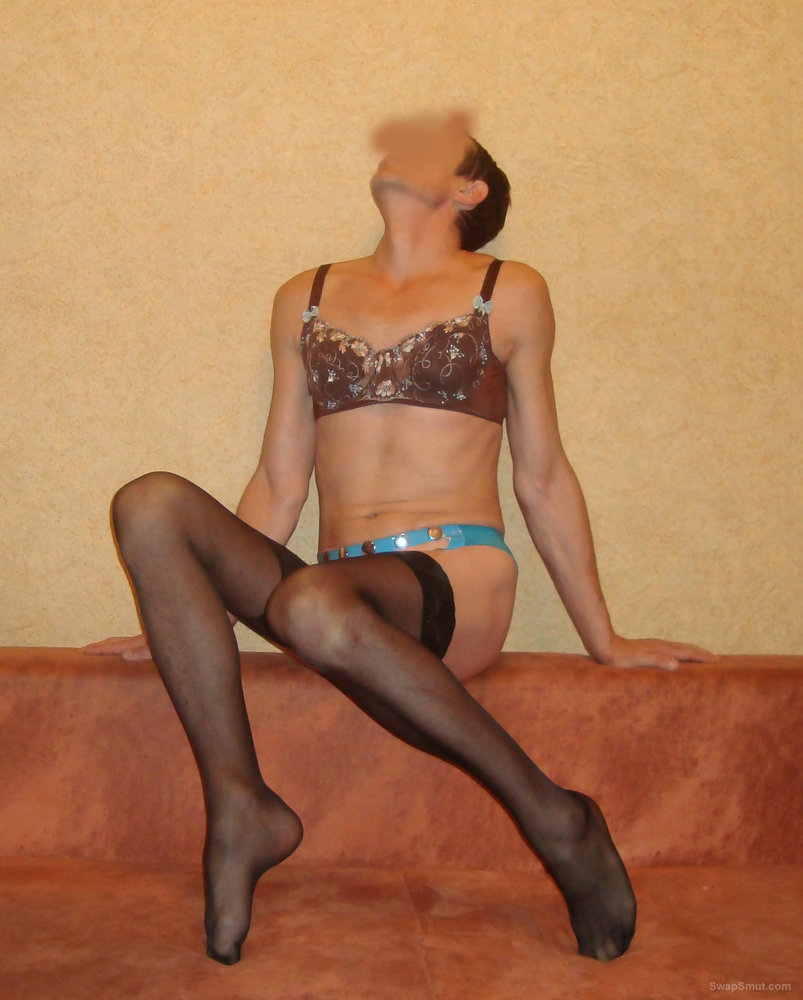 Crossdresser in Lingerie for your pleasure cock and balls on show