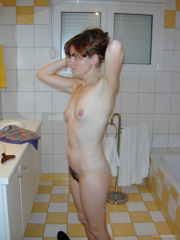 Nude hairy wife shower