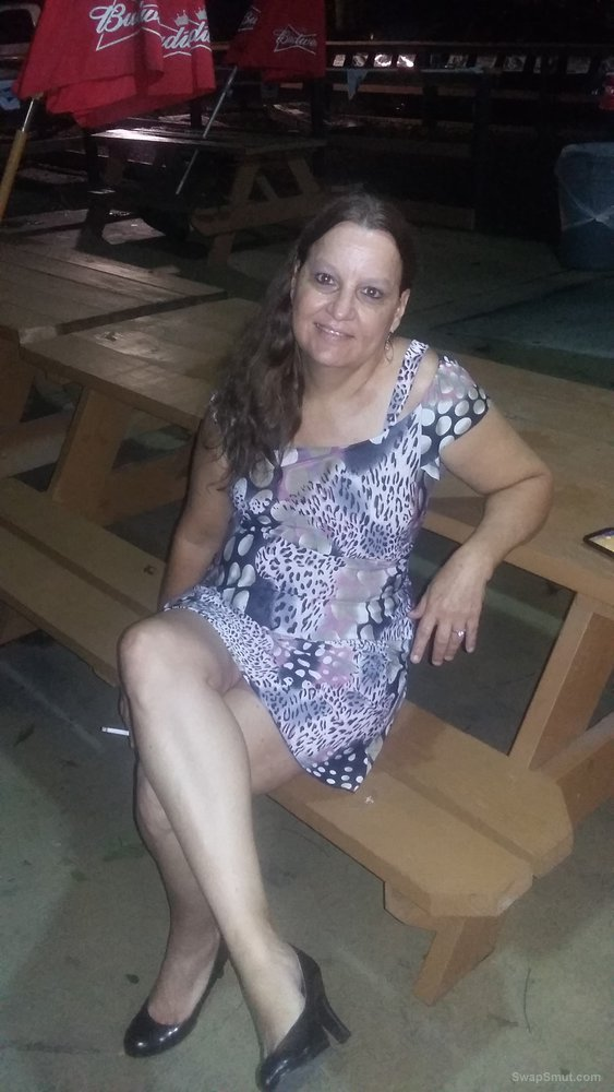 On behind the bar on the back deck doing some public flashing for my hubby