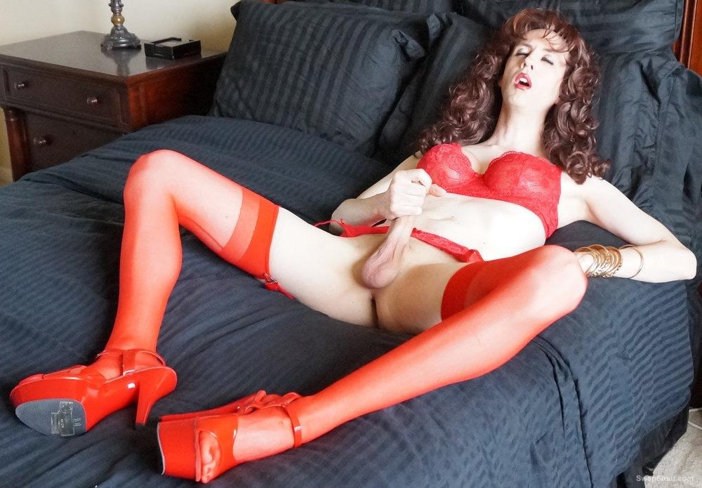 Sissy Erica tranny slut in red lingerie
