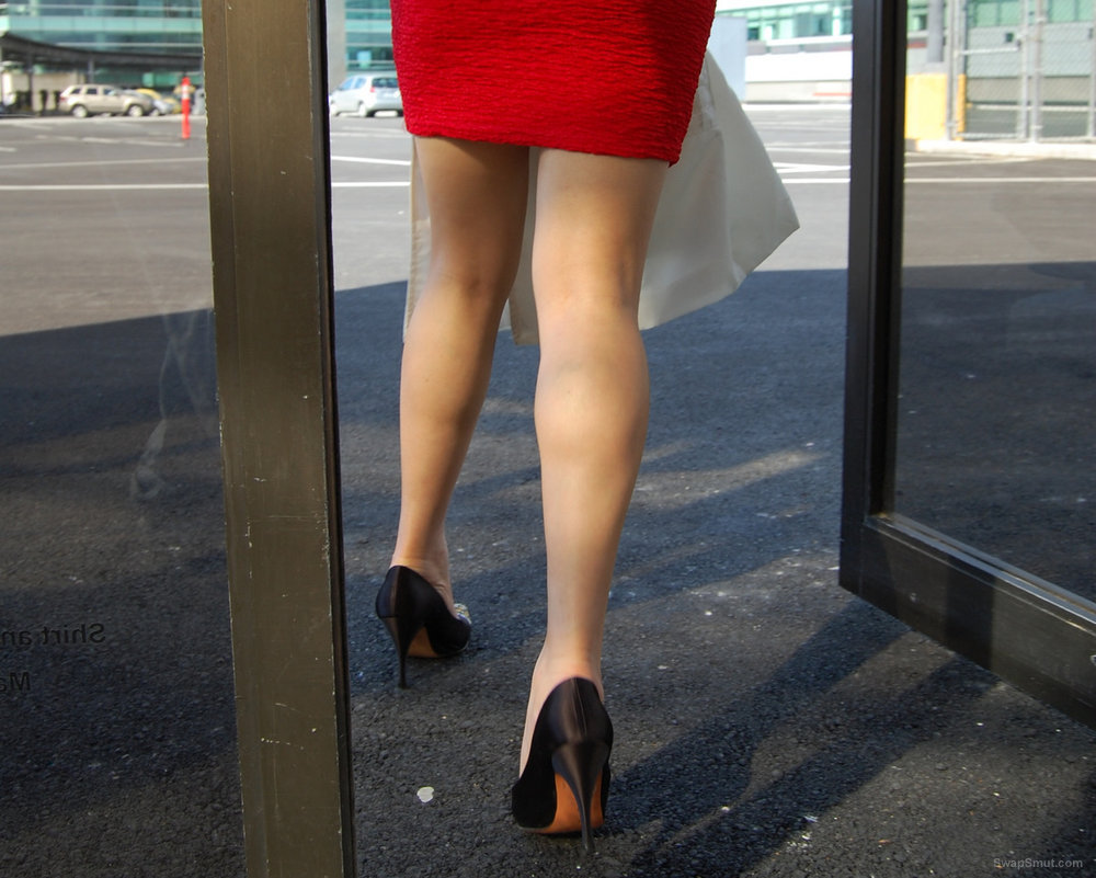 Asian in Red Chanel Mini dress upskirt wearing no panties