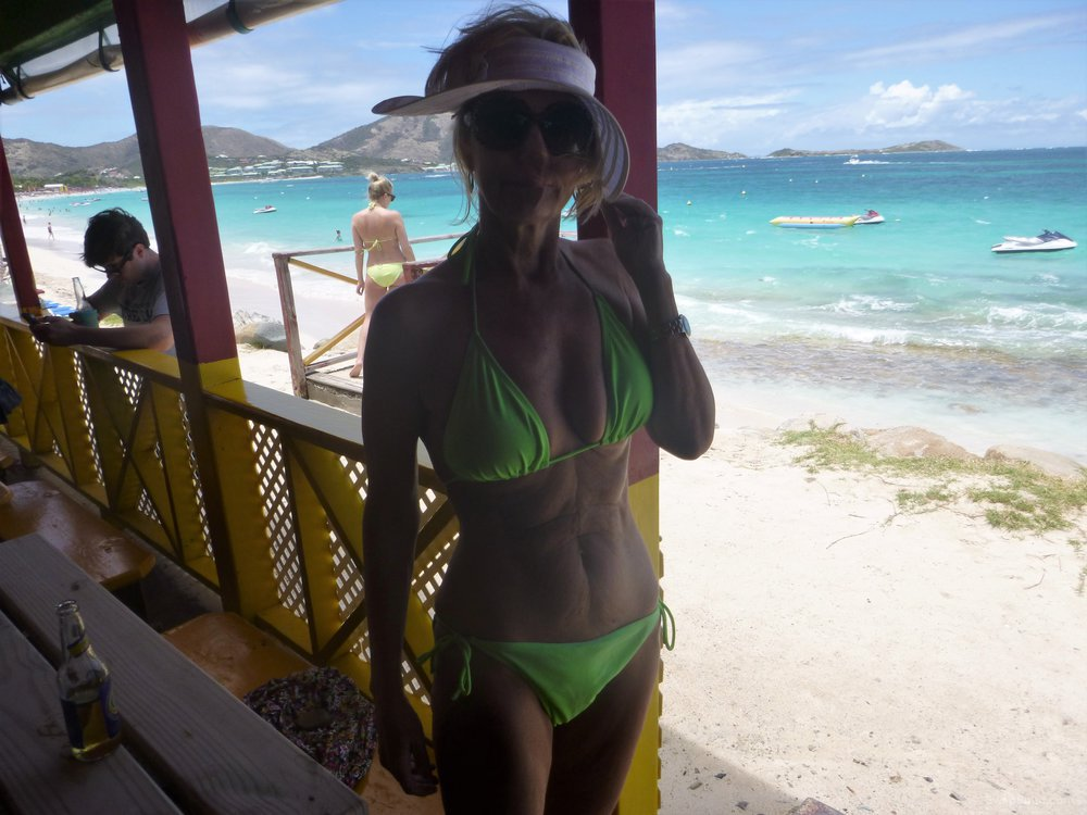 My wife posing at Orient Beach on St Martin