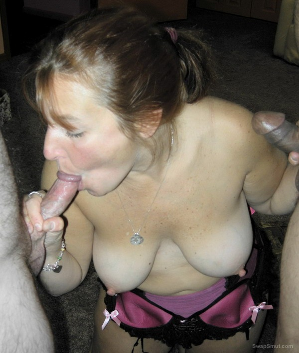 Wife sucks multiple cocks