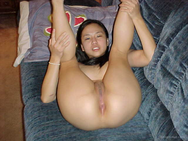 Sharon Shaved Asian for you to see spreading legs to show pussy ass