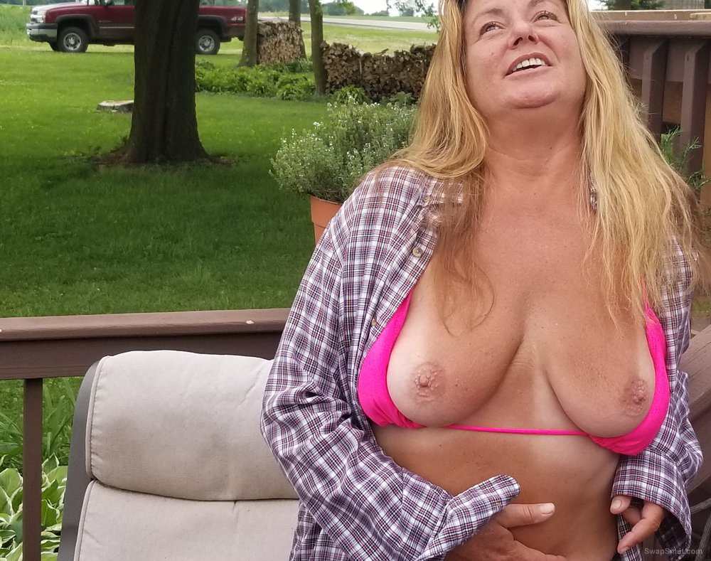 My wife showing her tits and tan lines