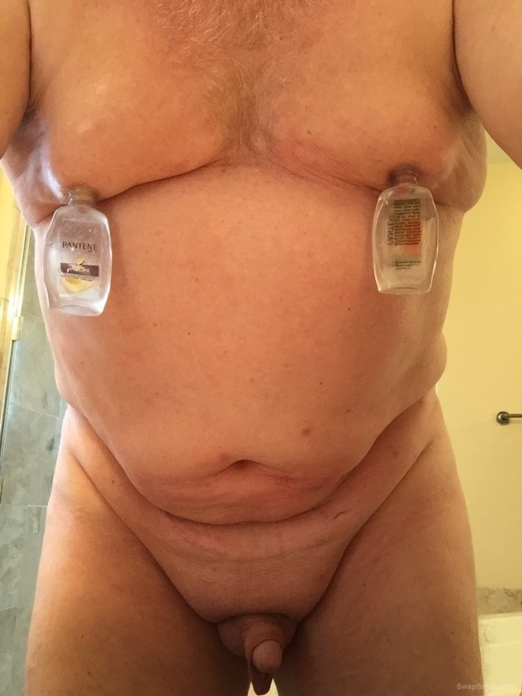 Nipple suction using travel shampoo bottles