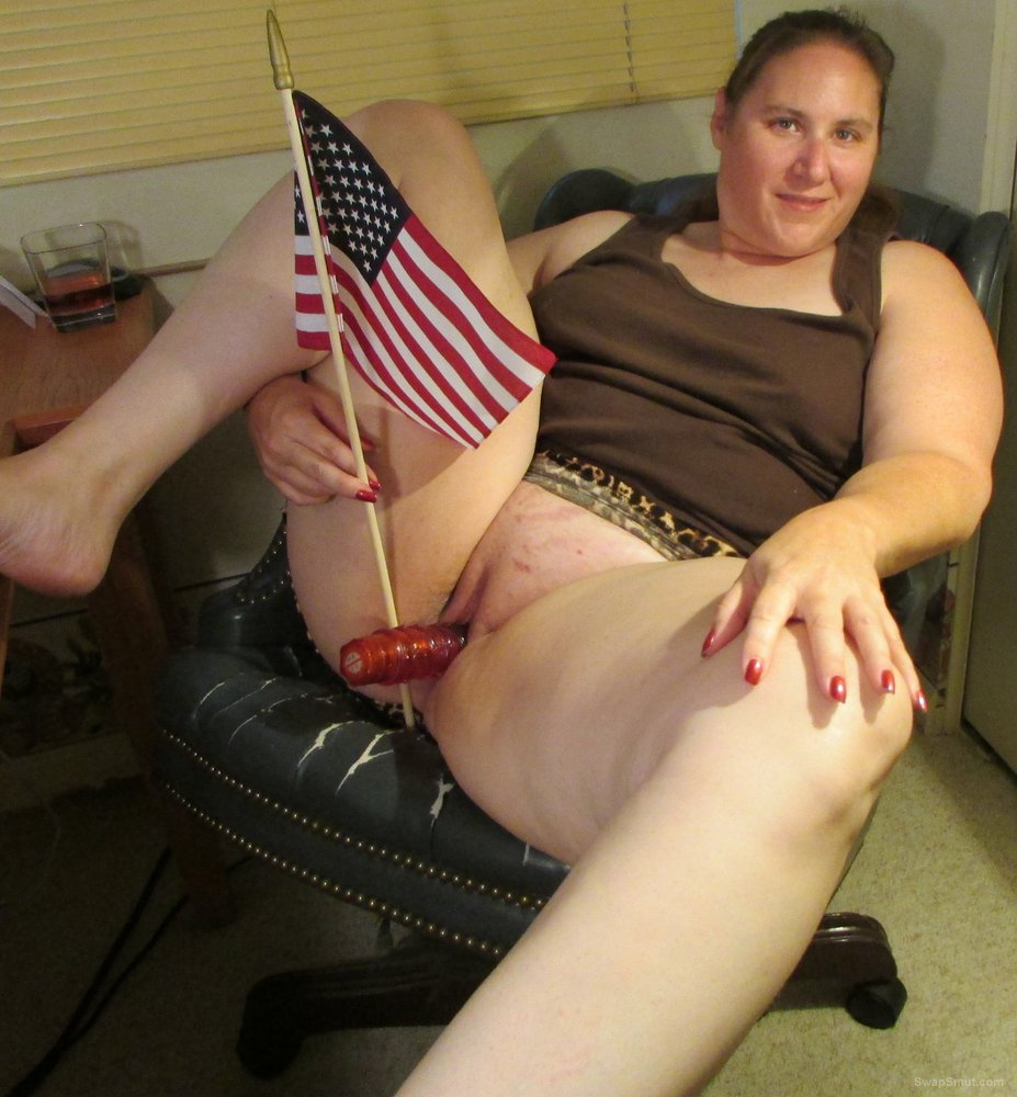 Just having fun on the forth with a friend and American flag