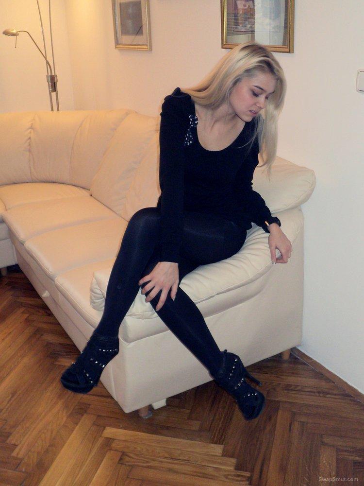 Gorgeous blonde in high heels teasing