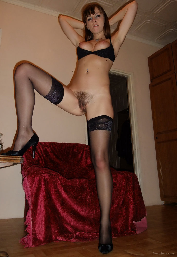 Hairy pussy and stockings