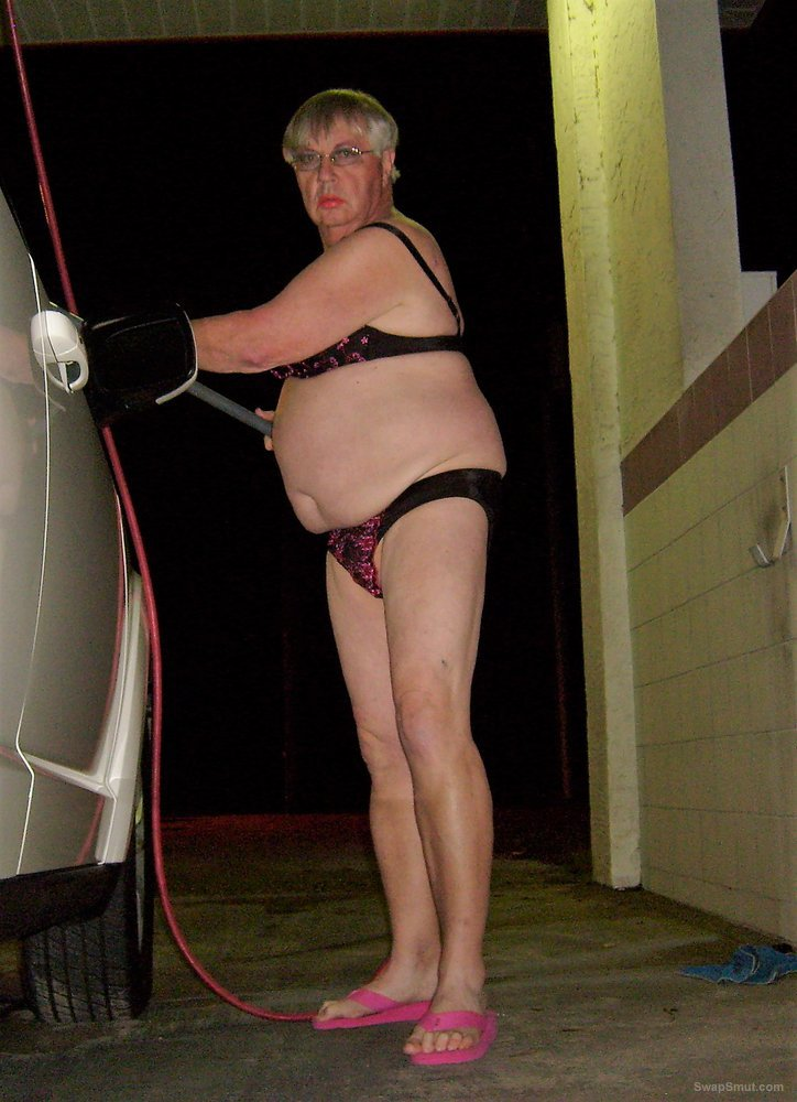 Sissy Boy Washes Car in Lingere