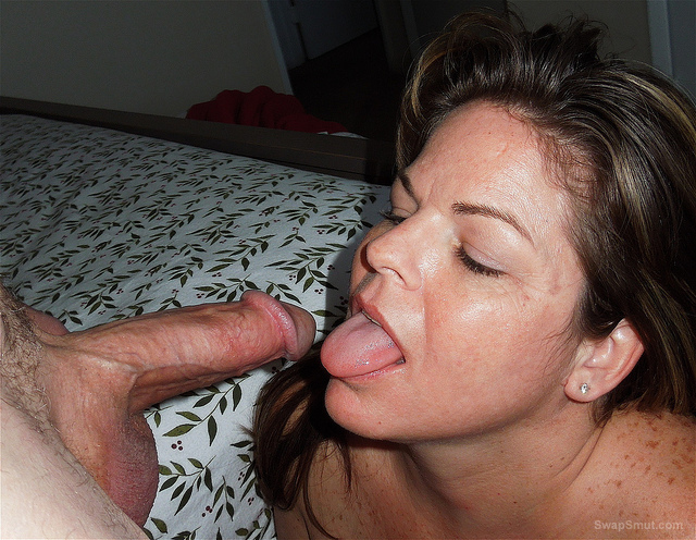 Bitch wife with a cock in her mouth making it cum homemade sex photos