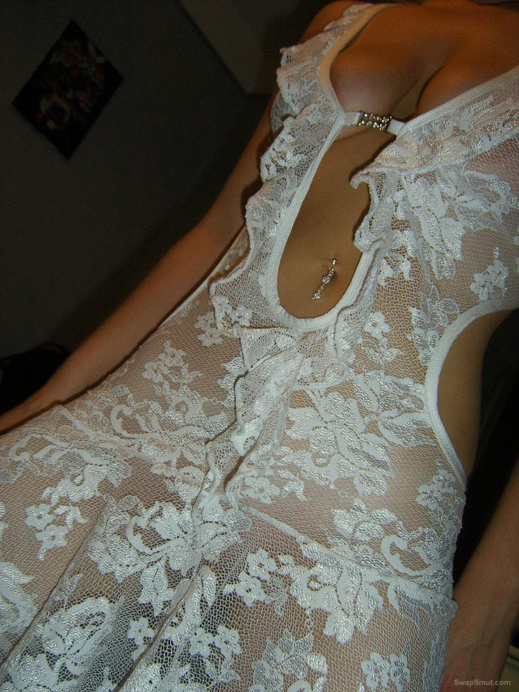 Wife wearing white lace lingerie to seduce me