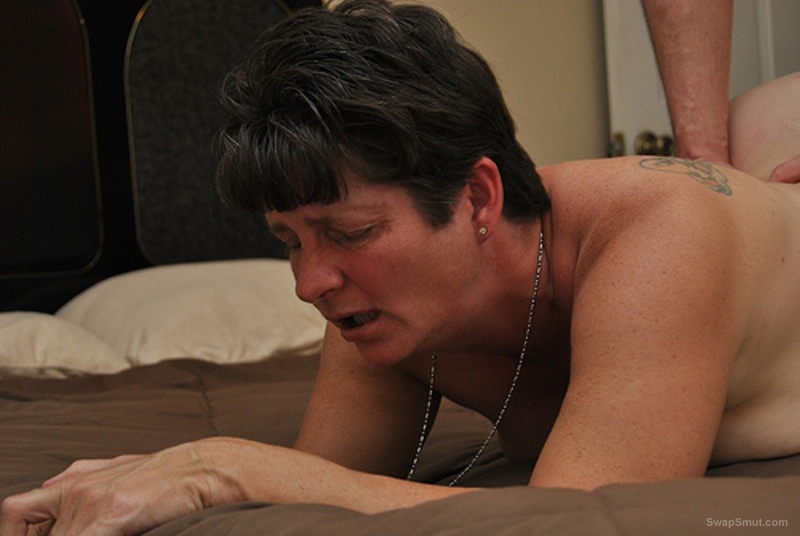 Mature fucking in doggy style by her lover while her husband cuckold