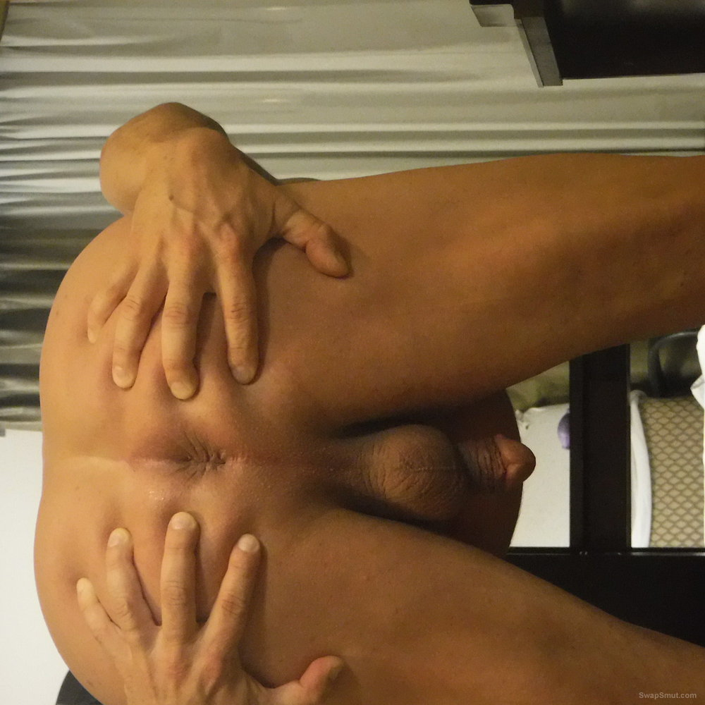 Ass spread, little pink thing, wet, sheer, thong ready for breading