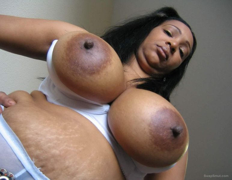 huge black areolas - Chubby black mature with huge natural tits and massive areolas