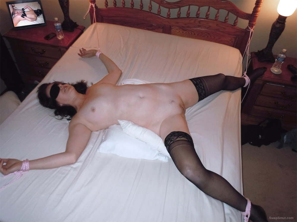 Mature brunette wife blindfolded and bed tied for him or them