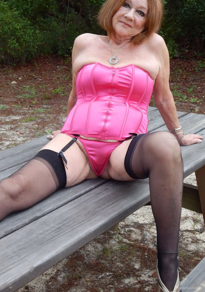My 70 year old Mature Wife Posing Outside