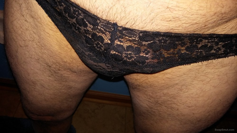 More pics of me wearing my wife's panties and playing with my cock