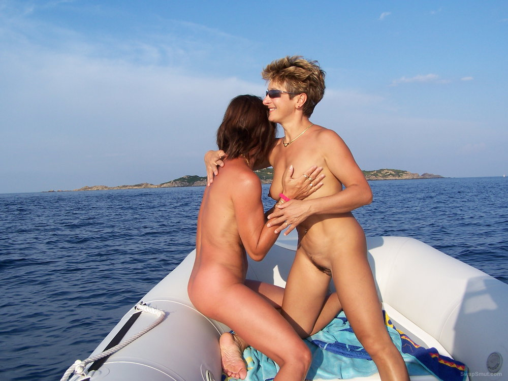 Our wives getting to know each other very well on inflatable rib