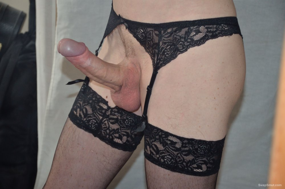 Me in stockings and suspenders dressing up and having a play