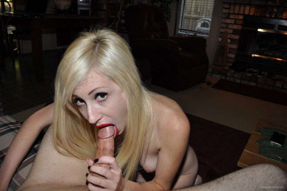 Great bitch blonde suck this cock spunk dripping from sexy red lips