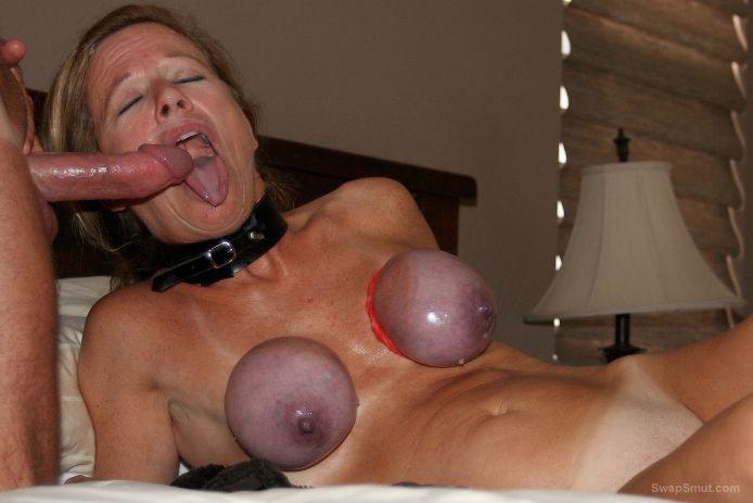 Submilf tied big tits in bondage