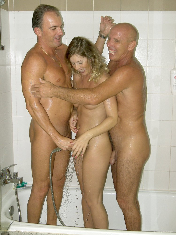 Blonde swinger housewife screwing two guys in our bed
