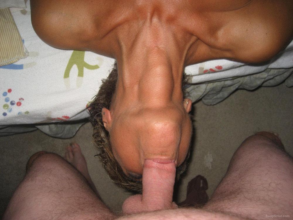 Big tit milf wife giving a blow job