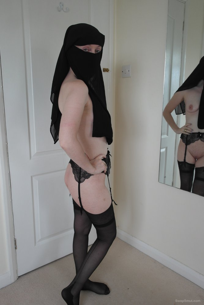 British wife nude in Niqab stockings and suspenders