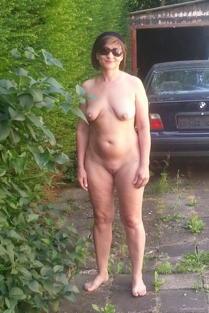 Wife naked in backyard