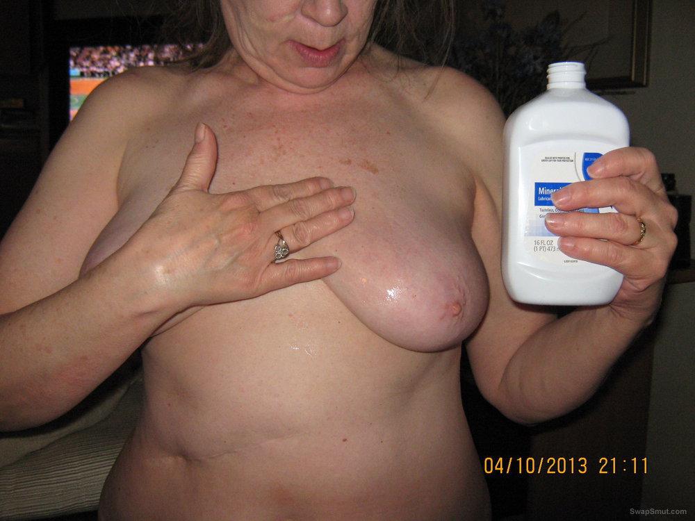 lotion boobs rubbing Women on their