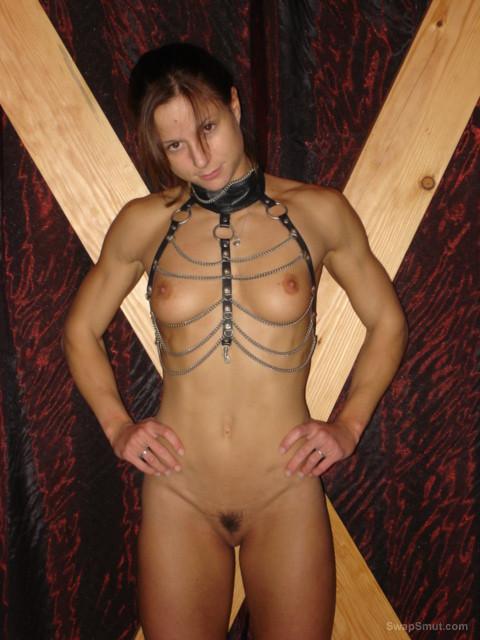 sexy body SARAH in bra knickers and bondage gear super hot body