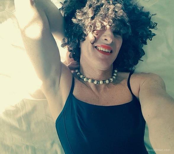 Crossdresser Alessandra Mari, giggly and horny