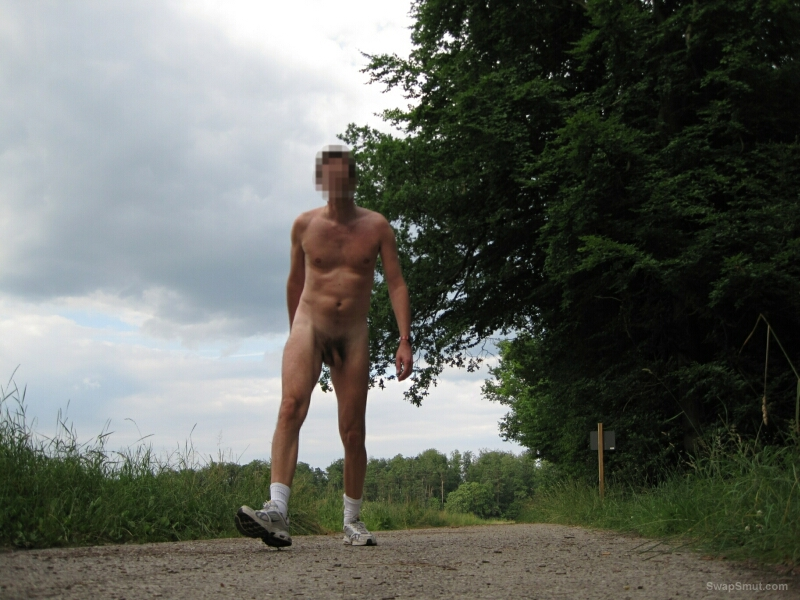 Show my cock and my butt under blue skies walking around naked