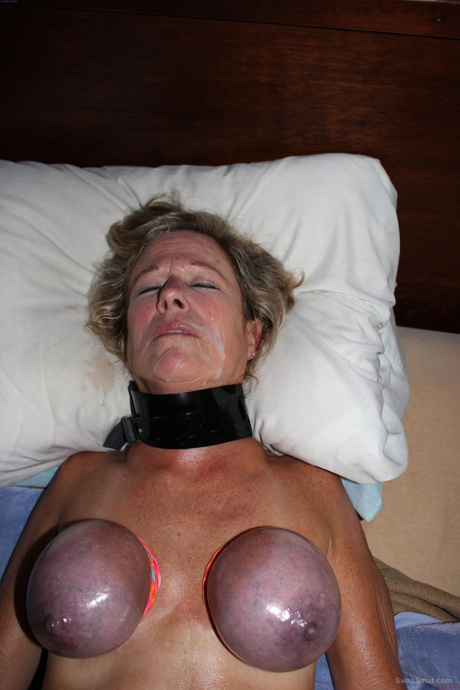 Submilf wife slut in hard tits bondage with my breast purple tied