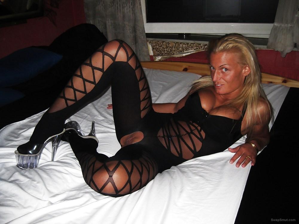 Love bitch wife Ani in black and sperm on body sexy body stocking
