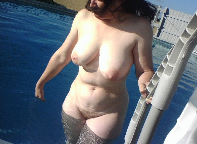 Outside at the in-laws swimming pool while they were on vacation