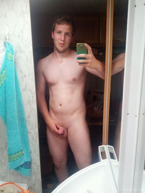 Young hot boy shows his nice dick taking self shot pics in mirror
