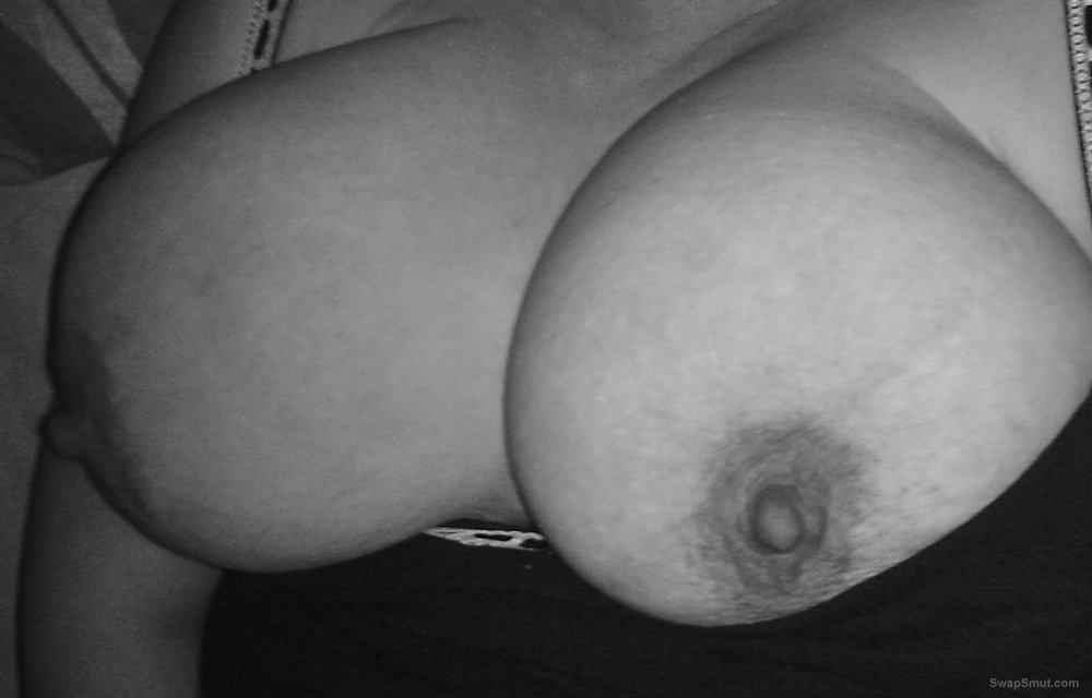 Showing my big tits and dark brown erect nipples for all of you to see