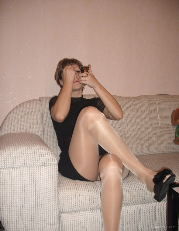 жена моя wife trying on a new pair of stockings
