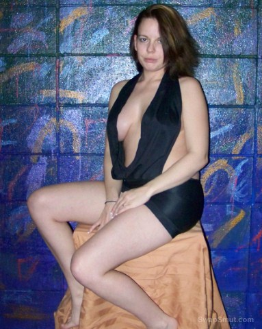 Jacq models some sexy dresses for me wife baring pussy and tits