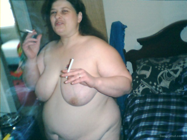My BBW wife in some random shots while having a cigarette