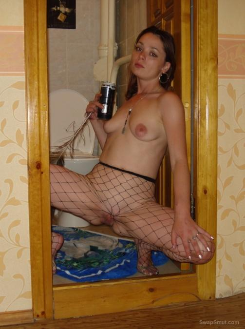 slut wife in fishnet tights