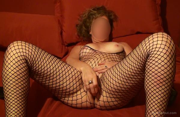 My wife Maka calm warmth with yellow dildo fishnet body stocking