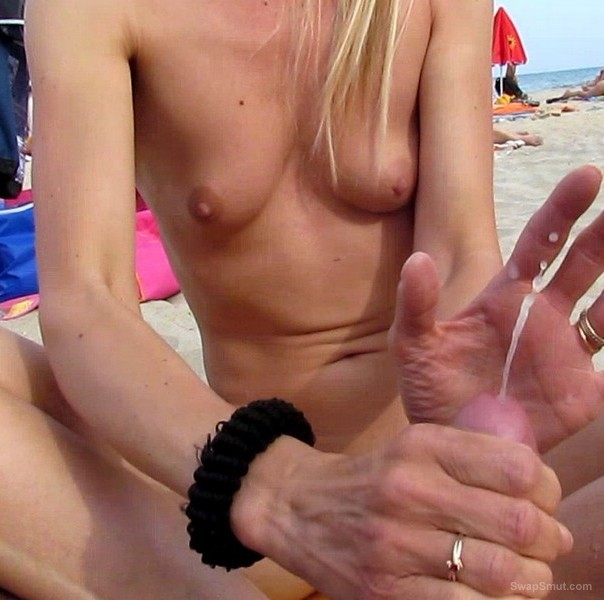 Nude hanjob beach cumshot think, that